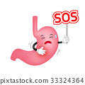 Human stomach character holding SOS sign.  33324364