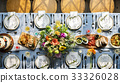 Wedding Reception Table Setting Aerial Top View 33326028