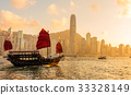 Chinese wooden red sails ship in Hong Kong Victoria harbor at sunset time 33328149