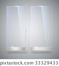 Glass door with reflection and shadows, isolated 33329433