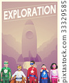 Group of superheroes kids with aspiration word graphic 33329585