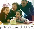 Photo Gradient Style with Family Celebrating Birthday Cake Smile Happy 33330575