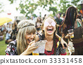 Group of Friends Drinking Beers Enjoying Music Festival Together 33331458