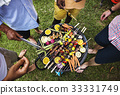 Diverse people enjoying barbecue party together 33331749