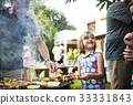 Diverse people enjoying barbecue party together 33331843