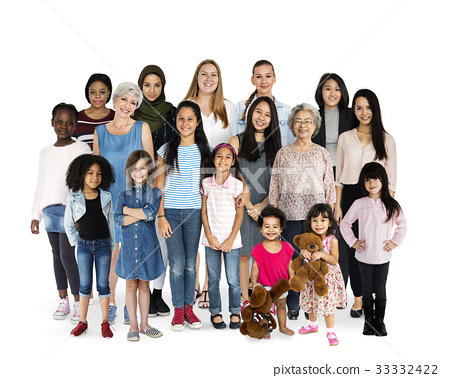 Diversity Women Set Gesture Standing Together Studio Isolated 33332422