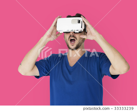 A man using a visualiaing reality gadget 33333239