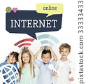 Children holding banner network graphic overlay background 33333433