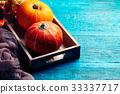 Image of two orange pumpkins 33337717