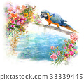 watercolor painting with bird and flowers on white 33339445