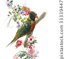 watercolor painting with bird and flowers on white 33339447