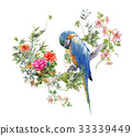 watercolor painting with bird and flowers on white 33339449
