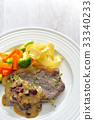 Beef steak with fruit sauce (cranberry sauce) 33340233