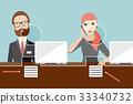 Employees, jobholders clerk in a bank. 33340732