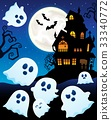 Ghosts near haunted house theme 6 33340772