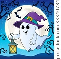 Ghost with hat and lantern theme 2 33340784