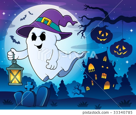 Ghost with hat and lantern theme 3 33340785
