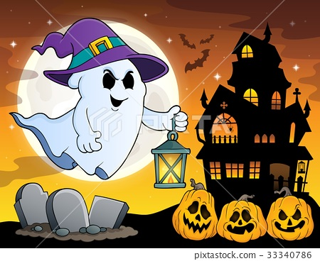 Ghost with hat and lantern theme 4 33340786