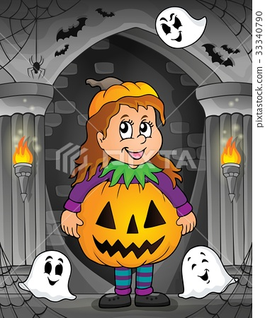 Girl in Halloween costume theme image 1 33340790