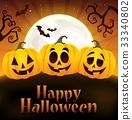 Happy Halloween sign with pumpkins 4 33340802