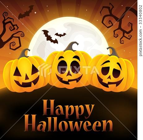 Happy Halloween sign with pumpkins 4 33340802