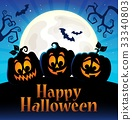 Happy Halloween sign with pumpkins 5 33340803