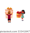 vector cartoon girl, boy keeping gifts in hands 33341847