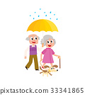 vector grey-haired couple walks keeping umbrella 33341865