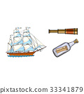 Sailing ship, telescope, message in bottle 33341879
