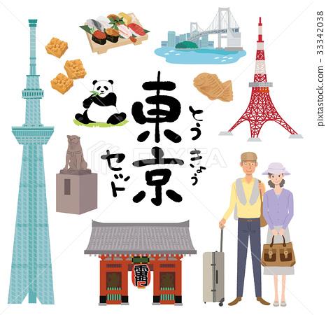Tokyo travel senior illustration set 33342038