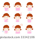 Variety girl face expression vector illustration. 33342106