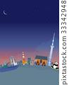 도쿄 타워 야경 일러스트 33342948