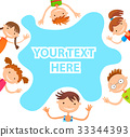 banner kid child Funny cartoon character. Vector 33344393