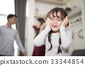 The girl was crying because parents argue quarrel 33344854