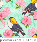 toucan, floral, hibiscus 33347131