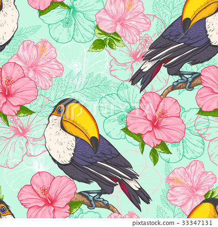 Seamless pattern with toucan 33347131