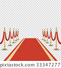Red carpet with red ropes on golden stanchions 33347277