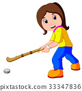 funny girl cartoon playing hockey 33347836