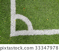 Artificial soccer corner grass field 33347978