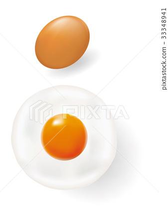 Egg and Fried egg on white background EPS8 33348941