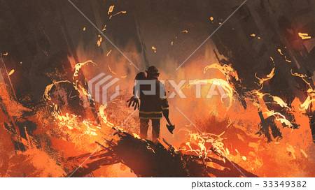 man holding girl standing in burning building 33349382