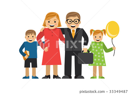Happy cartoon family 33349487