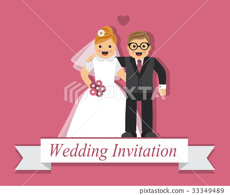 Cute cartoon bride and groom 33349489