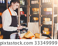Male cheese shop assistant swipe credit card 33349999