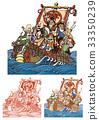 the seven deities of good fortune, treasure ship, vector 33350239