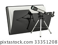 Computer folder icon with telescope, 3D rendering 33351208