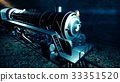 Steam old train in tunnel. 3D rendering 33351520