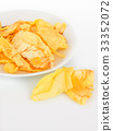Durian chips on white background 33352072