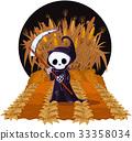 skeleton, corn, field 33358034