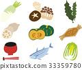 japanese food ingredients, white radish, mushroom 33359780